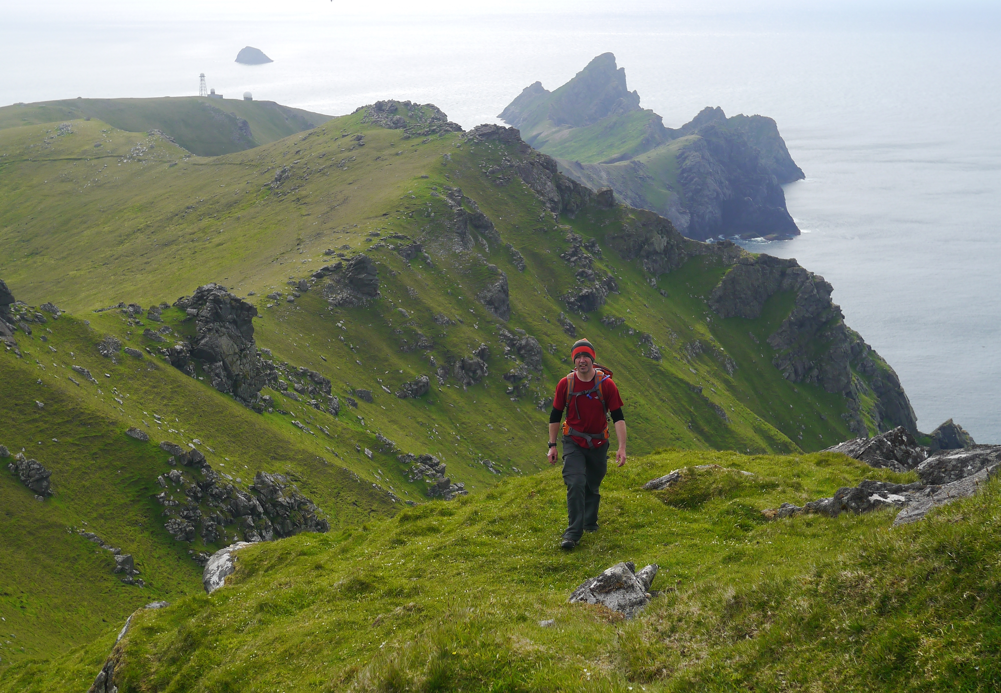 Walking on Hirta's sea cliffs